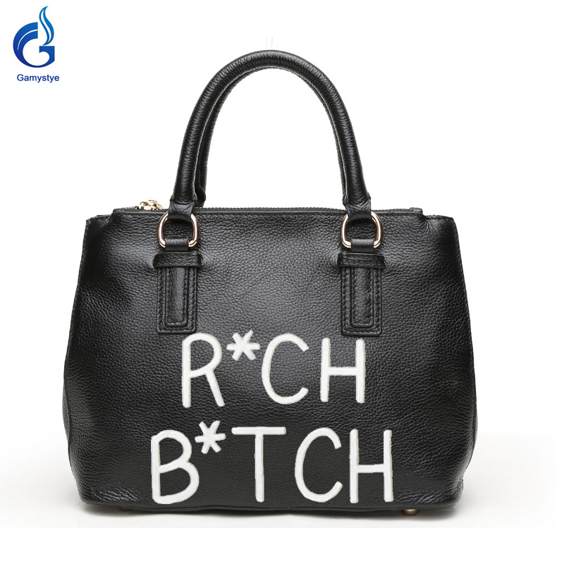 Gamystye New Genuine leather Handbags Design Word RICH BITCH Graffiti hand Paint Letters On Women Bags Women handbag customize letters on familiar matters vol ix–xvi