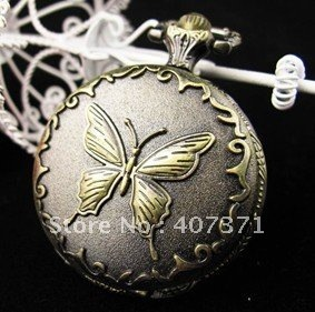 Vintage Decorative Butterfly Cover Men Ladies Quartz Analog Hand Pocket Watch