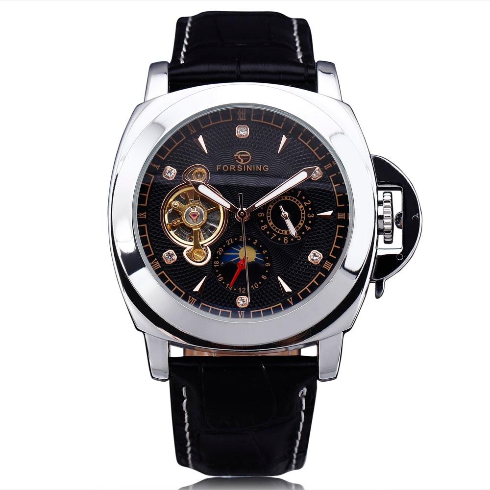 FORSINING Brand Classic Men Tourbillon Automatic Watch Leather Strap Diamond Luxury Mechanical Sport Military Watches For Men все цены