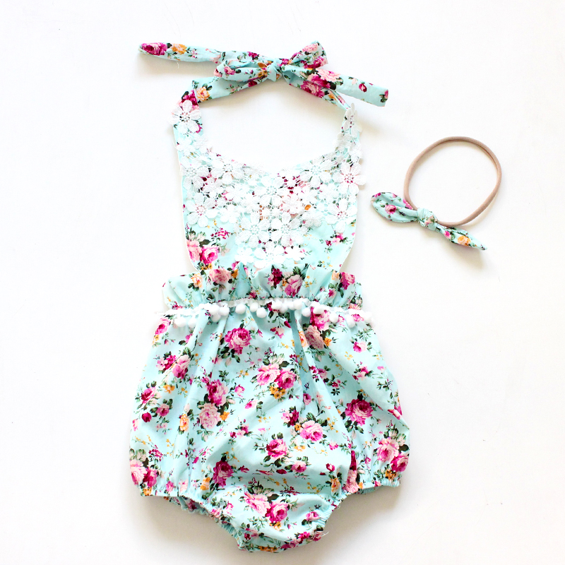 Vintage Baby Floral Romper Sunsuit Tengerparti Playsuit Romper - Bébi ruházat