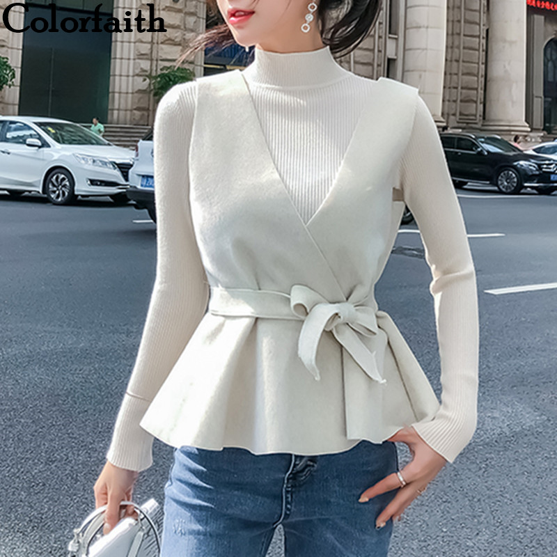 Colorfaith Women Pullovers Sweater 2019 Knitted Autumn Winter Fashion 2 Pieces Elegant Lace Up Bow Casual Ladies Tops SW3362