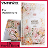 For Ipad 6 Luxury 3D Stereo Relief Painting Flower Smart Magnet Leather Case Stand For Ipad