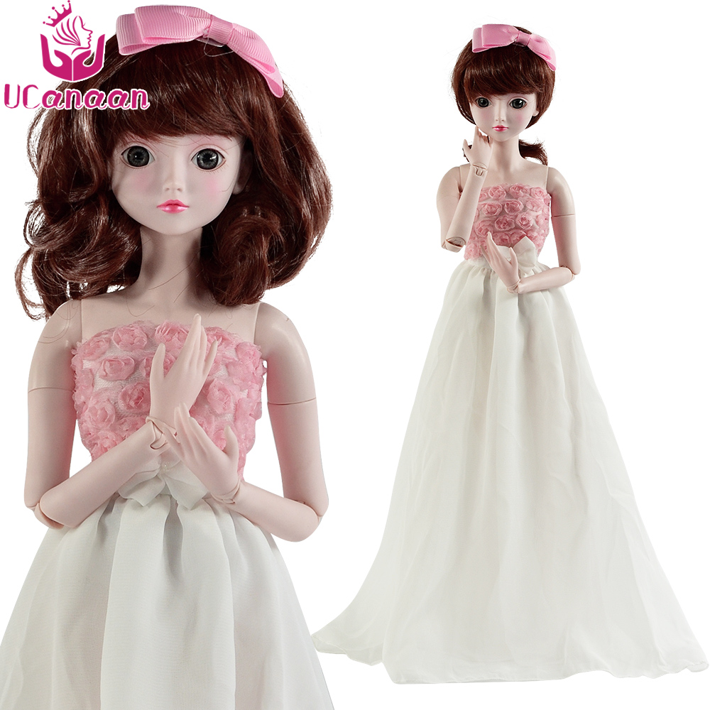 Ucanaan 1/3 Large BJD/SD Doll High Quality Joints Short Hair Fashion Personality Girl 19-Jointed Body Lolita Doll Offer Dress Up