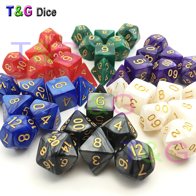 New Gold Ink D&D Dice with Marbled effect D4 D6 D8 D10 D10% D12 D20 7PCS/set white red black green purple blue 6 Colors Dice