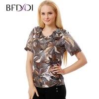 BFDADI 2017 Spring Summer Casual T Shirt Women Geometric Flowers Print T Shirts Female Plus Size