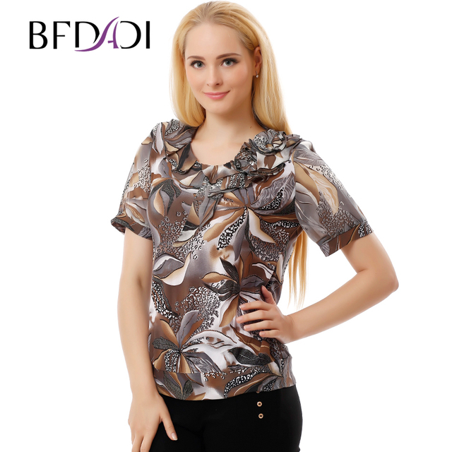 BFDADI 2017 Spring Summer Casual T Shirt Women Geometric flowers Print T-Shirts Female Plus size Tops Women Clothing 9326