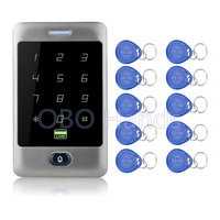Free Shipping 125KHZ Metal Touch Screen Access Control System C30 Model RFID Keypad 10 RFID Keyfobs