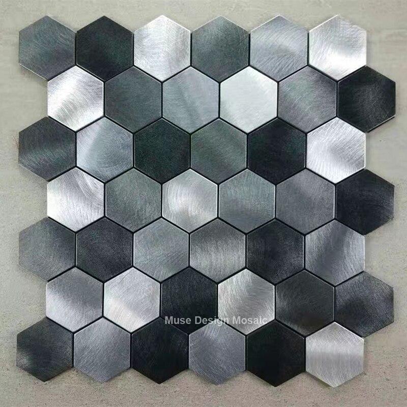 Metallic Black Silver Grey Hexagon Brushed Aluminium Alloy