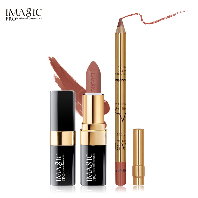 IMAGIC Matte Lips Kit 2pcs/set  Matt Lipsick+Lipliner Make Up Set Long Lasting Water proof Beauty Red Lipstick Makeup