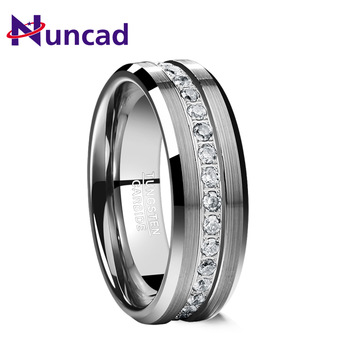 Nuncad 8MM frosted surface middle zircon tungsten carbide ring silver Color Wedding Rings Mens Women Engagement Ring Bijoux