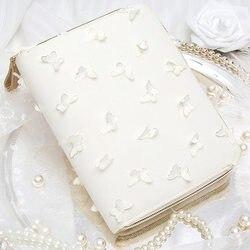 Yiwi A6 Kinbor Hobo Style 3D Blanc Papillon Zip Sac Planificateur Creative agenda Avec Année Mensuel Grille Charge Pages