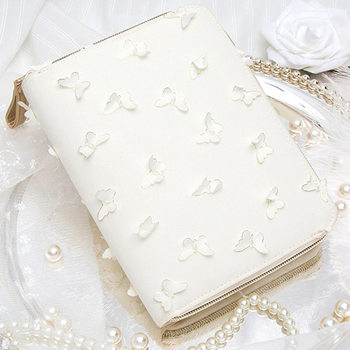 Yiwi A6  Kinbor Hobo Style 3D White Butterfly Zip Bag Planner Creative Diary Notebook With Year Monthly Grid Filler Pages