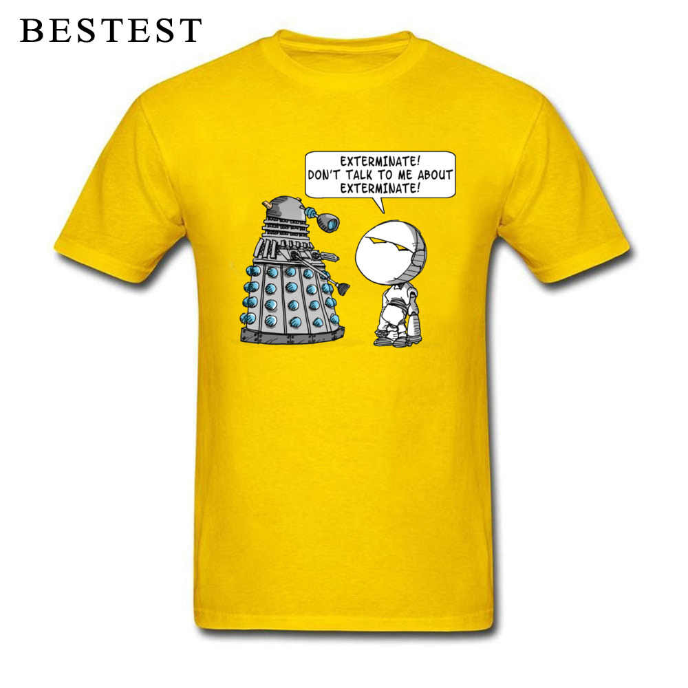 Marvin Voldoet Dalek T-shirt Mannen Doctor Who T-shirt Roeien Pessimist Robot Tshirt Hipster Zomer Geel Tops Funny Tees