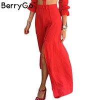 Berrygo vintage festa elegante saia longa dividir chiffon boêmio saias womens casual solto maxi praia verão saia vermelha