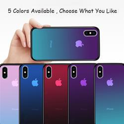 Чехол для iPhone X 8 7 плюс 6 S Чехол роскошные Аврора градиент Цвет блестящие закаленное Стекло противоударные Чехлы для iPhone X 6 S 7 8 крышка
