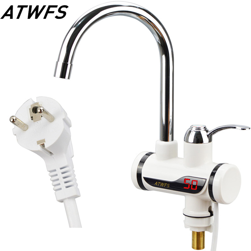 High Quality Tankless Instantaneous Faucet Water Heater Instant Water Heater Tap Kitchen Hot Water Crane LED Digital EU Plug