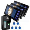 "7"" Wired Fingerprint Recognition Video Door Phone Intercom System 3 Monitor+1 Kit IR Night Vision Camera +5pcs RFID Keyfobs"