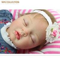 Коллекция НПК 50 см силиконовые куклы для новорожденных спящие куклы с джинсовыми платьями головной убор, настоящая Реалистичная кукла млад