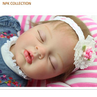 NPK COLLECTION 50CM Silicone Reborn Baby Dolls Sleeping Baby Born Dolls With Denim Dresses Headdress Real