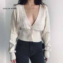 Women Deep V Neck Cropped Cardigan Drop Shoulder Ribbed Knit Cardigan