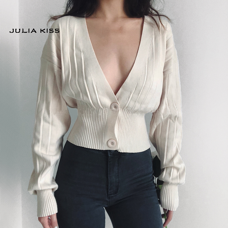 Women Deep V Neck Cropped Cardigan Drop Shoulder Ribbed Knit Cardigan