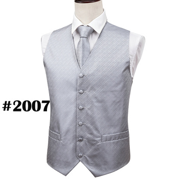 Designer Mens Classic Black Paisley Jacquard Folral Silk Waistcoat Vests Handkerchief Tie Vest Suit Pocket Square Set Barry.Wang 25