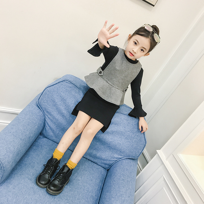 Girl Autumn Clothing Suit New Pattern Korean Long Sleeve Dress Girls Child Children School Wind Two Pieces Kids Clothing Sets 2017 new fashion spring autumn girls two pieces suit children coat princess dress suit korean leisure sweet kids clothes dc129