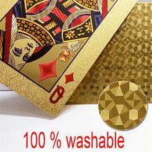 Entertain Golden Playing Cards Deck Of Gold Foil Pokers Set Magic 24K Waterproof Poker for Family Game