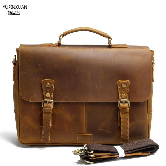 Yupinxuan Genuine Leather Briefcase Men Handmade Vintage Cowhide Office Bag Retro Work Lawyer Branded