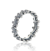 Genuine 925 Sterling Silver Jewelry Daisy Flower Eternity Band Compatible With European Fits Pandora Ring For