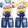 Novo 2016 Verão Crianças Mickey Meninos Do Bebê Se Adapte Às Crianças Se Adapte T-Shirt + jean shorts Calças/bebê meninos conjuntos de roupas