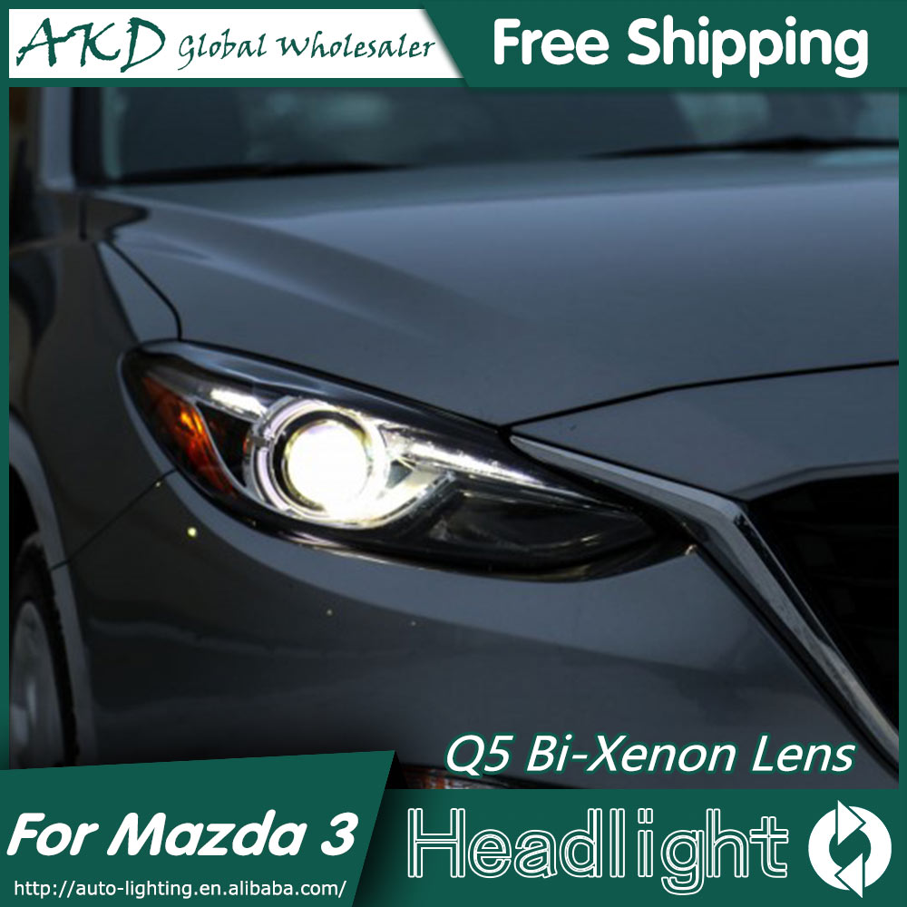 AKD Car Styling for Mazda 3 Headlights 2015 New Mazda3 Axela LED Headlight Original DRL Bi Xenon Lens High Low Beam Parking for mazda 3 axela 2013 2015 year led headlight head lamp with bi xenon projector lens front light ld