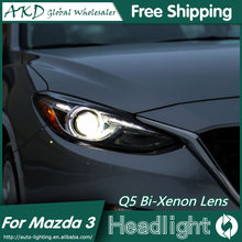 AKD Car Styling for Mazda 3 Headlights 2015 New Mazda3 Axela LED Headlight Original DRL Bi Xenon Lens High Low Beam Parking