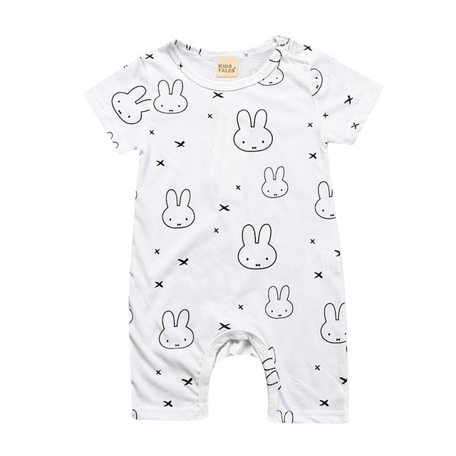 Unisex Baby Romper 2019 Summer Short Sleeve New Born Baby Girl Clothes Cartoon Print Baby Boy Romper Toddler Rompers 0-24M 4