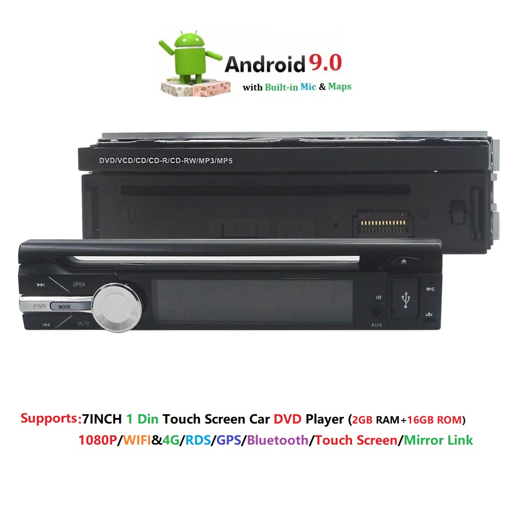 4G 2GRAM 1 Din Android 9.0 Quad 4 Core Car DVD Player For Universal GPS Navigation Stereo Radio WIFI Audio USB SWC Multimedia BT4G 2GRAM 1 Din Android 9.0 Quad 4 Core Car DVD Player For Universal GPS Navigation Stereo Radio WIFI Audio USB SWC Multimedia BT