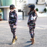 2018 Autumn Boys New Street Fashion Long Sleeves Hooded Zipper Top Coat and Harem Pants For Girls Sets Children Sets