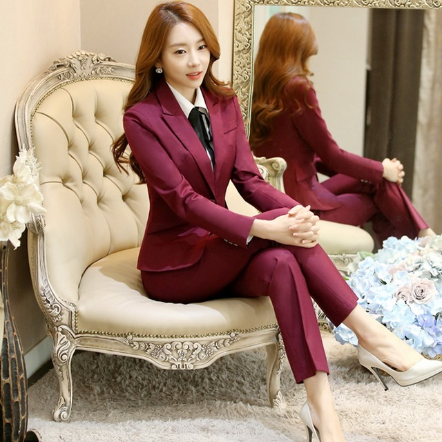 47e6ad5fe21 Plus Size Female Spring Autumn Trousers Work Wear Suit Women Blazer and Pants  2 Piece Set Business Formal Office Work Wear Suits