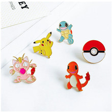 1pc Alloy Enamel Yellow Pikachu Pokemon Super Monster Go Pokeball Broche Badges Lapel Pin Safe Brooche Scarf Women Jewelry Gifts(China)