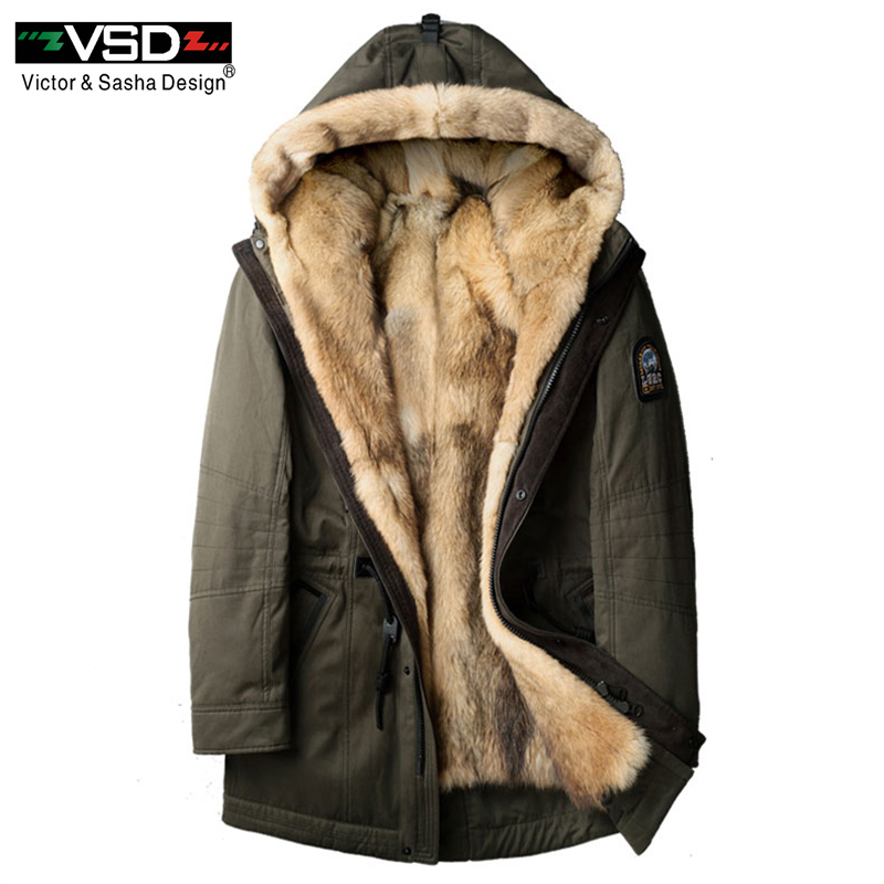 VSD 2018 New Wolf Fur Men Thick Winter Jacket Long Coats Designer Fashion Travel To Overcome The Warm Luxury Hooded Jackets V997