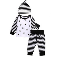 2017 New Spring Autumn Baby Boy Girl Clothing Set Baby Suit Long Sleeved Romper Pants Hat
