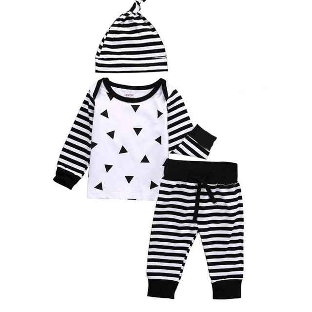 2017 New Spring Autumn baby boy girl clothing set baby suit long-sleeved romper + pants + hat 3pcs newborn baby clothes H539