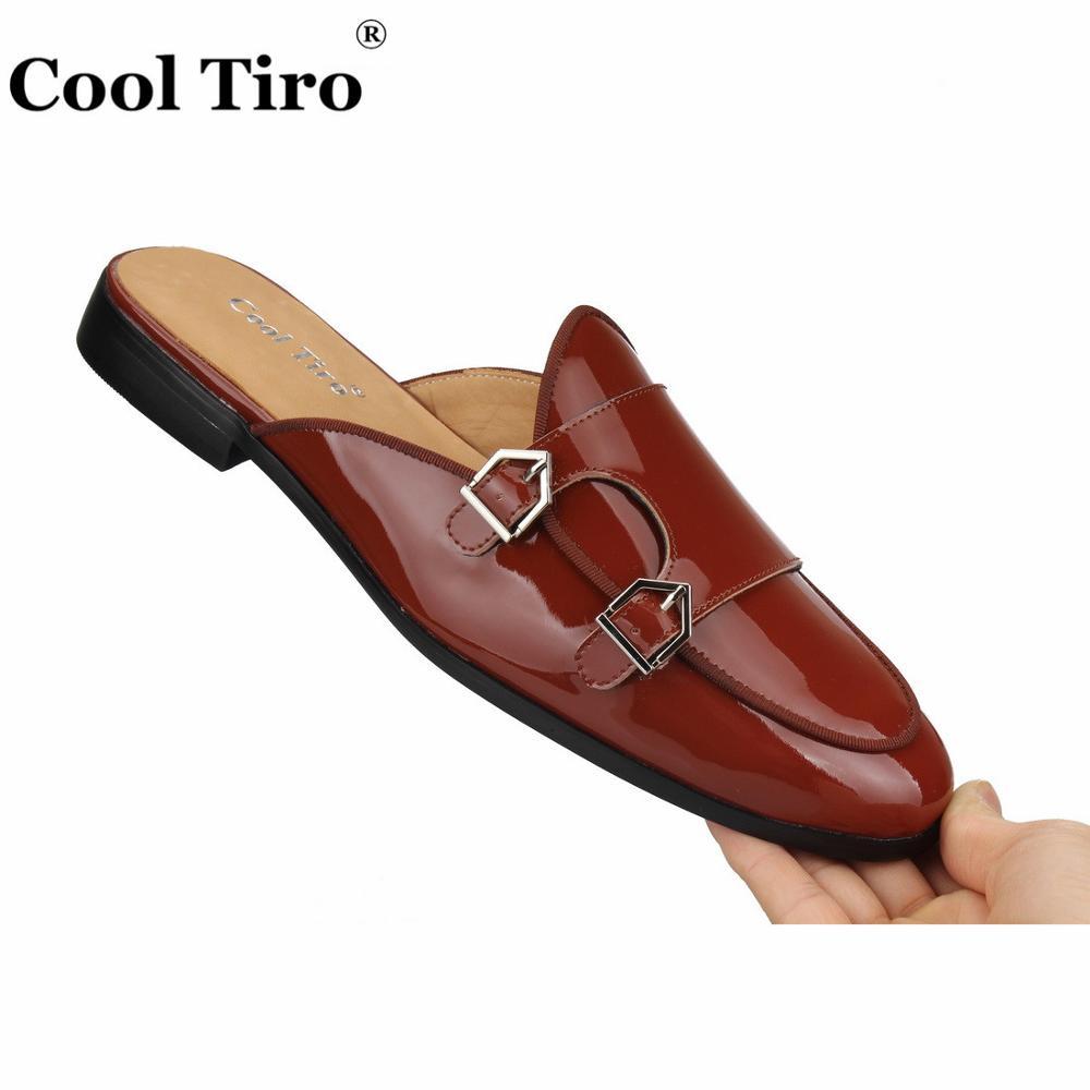 Cool Tiro Brown Patent leather Mules Men Slippers DOUBLE MONK Slip On Flats Handmade Men s