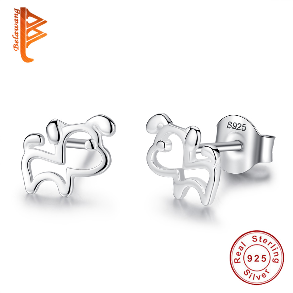BELAWANG 925 Sterling Silver Hollow Dog Animal Earrings for Women Children Lovely Small Stud Earring Anti-allergy Silver Jewelry creative 3d animal earrings cartoon cat kitten lovely ear stud earrings jewelry