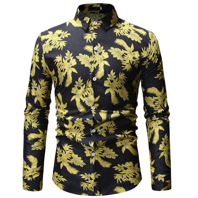 Black and gold leaf print shirt