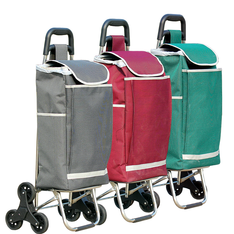 Hanli six wheel climbing cart stainless steel folding portable luggage cart shopping car ...