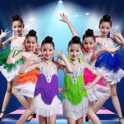 Sequin diamond Fringe tassel latin dance dress for girls salsa kids dresses competition spandex children samba tango ballroom