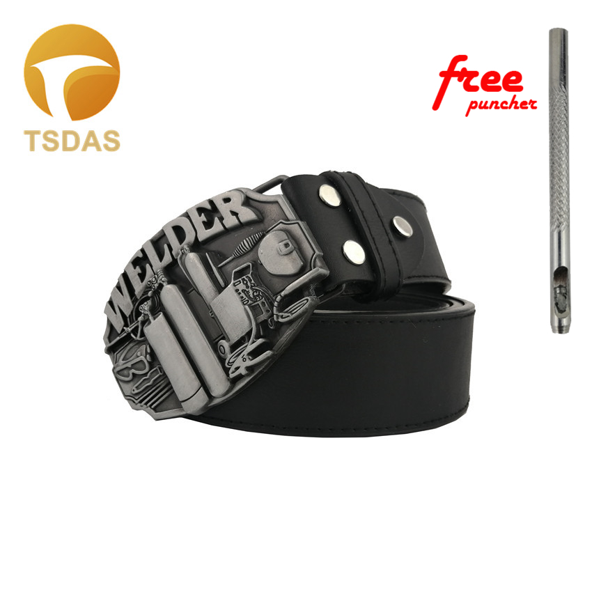 Fashion Clothes Accessory Smooth Silver Belt Buckle WELDER Pattern 8.3*6.2cm Metal Belt Buckle Men's Gift Free Shipping