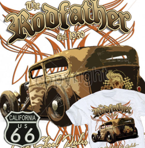 New Cotton Short-Sleeve <font><b>T</b></font>-<font><b>Shirt</b></font> Summer Cotton Rodfather Hot Rod <font><b>T</b></font>-<font><b>Shirt</b></font> Rat Rockabilly Vintage Old Skool Skull <font><b>Route</b></font> <font><b>66</b></font> <font><b>T</b></font> <font><b>Shirt</b></font> image