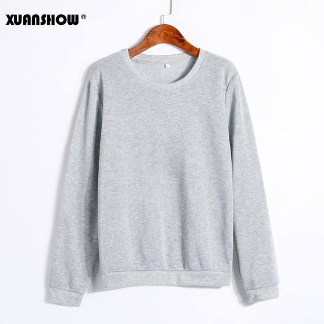XUANSHOW Spring Autumn Winter Unisex Sold Color Clothes Fleece Long Sleeve Man Woman Pullover Moletom Sudadera Mujer S-5XL 1