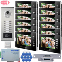 "7"" Color Video Door Phone 12 Monitors + 12 Keys Rfid Access Control Video Camera Video Intercom System Electric Strike Lock Kit"
